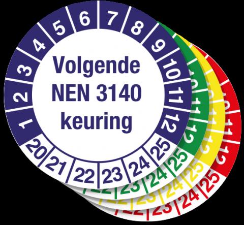 Keuringssticker Volgende NEN 3140 Keuring