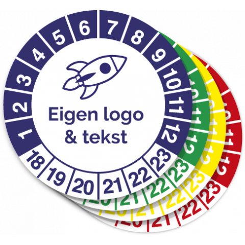 Keuringssticker eigen logo bestellen 1